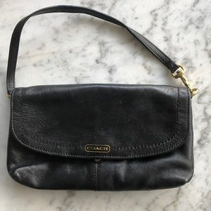 Coach Black Leather Wristlet/Wallet